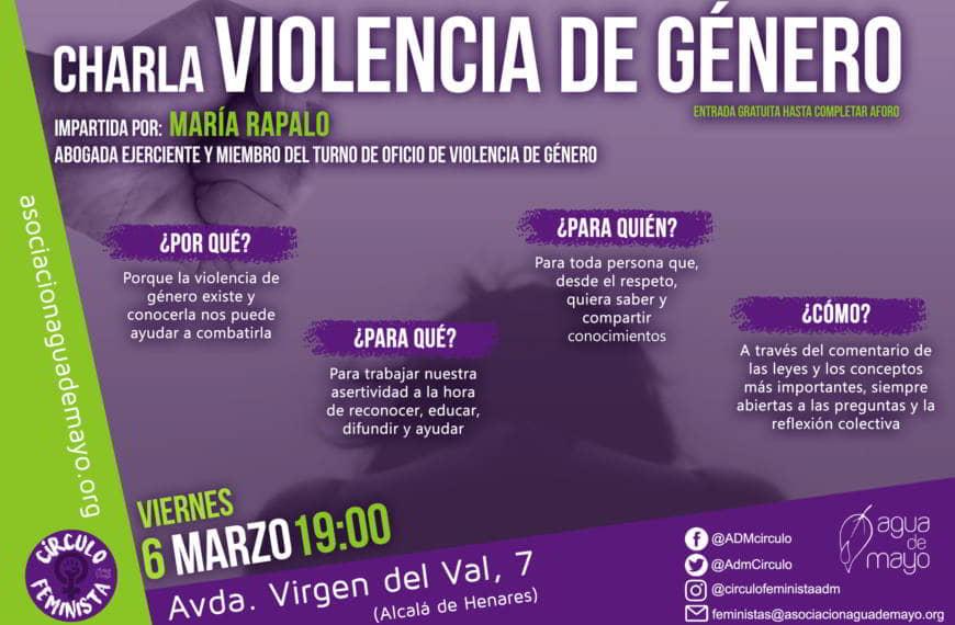 Charla sobre violencia de género: Viernes 6 marzo – 19h